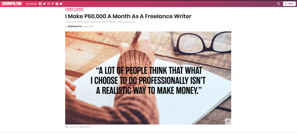I Make P60,000 A Month As A Freelance Writer, an article in Cosmopolitan Philippines about being a freelancer in the Philippines by Rhoda Dejito