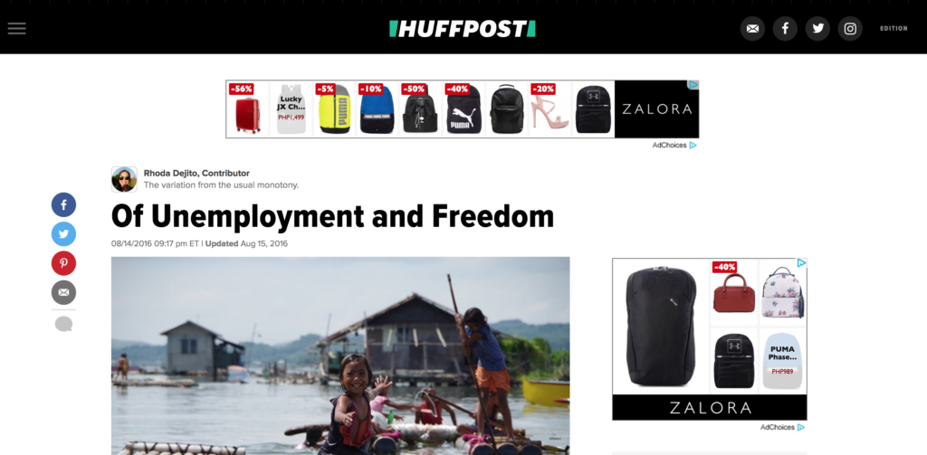 Of Unemployment and Freedom, a HuffPost article about being a freelancer in the Philippines by Rhoda dejito